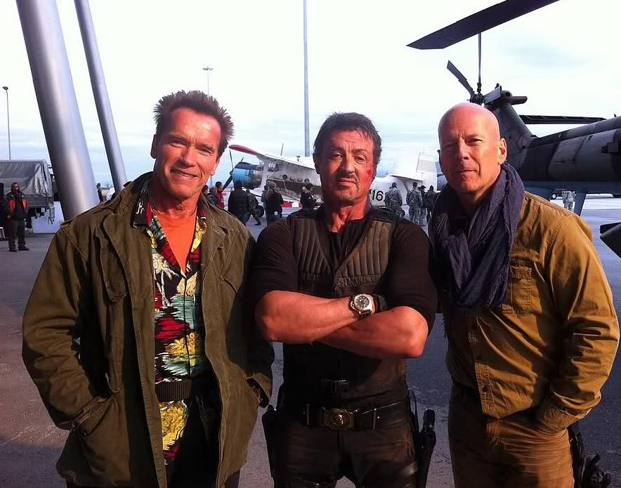 "Schwarzenegger, Stallone and Willis on set of ""Expendables 2"" – photo"
